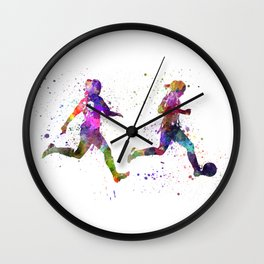 Girls playing soccer football player silhouette Wall Clock
