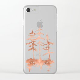 Three Sisters Trees Rose Gold on White Clear iPhone Case