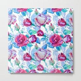 Elegant pink blue watercolor hand painted roses pattern Metal Print