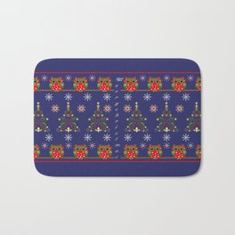 Pattern design with Christmas owls, trees and snowflakes Bath Mat