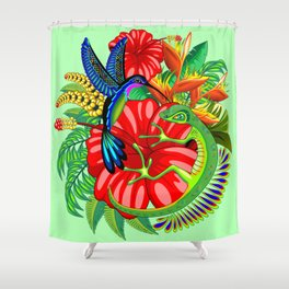 The Lizard, The Hummingbird and The Hibiscus Shower Curtain
