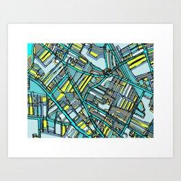 Abstract Map- Davis Square, Somerville MA Art Print