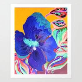 Birthday Acrylic Blue Orange Hibiscus Flower Painting with Red and Green Leaves Kunstdrucke