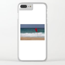 Red flag No Swimming Clear iPhone Case