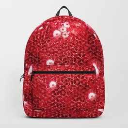 Faux Red Sequin Background Backpack