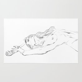 embrace your body - nude girl portrait Rug