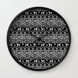 Poodle fair isle christmas dog gifts poodles pet lover dog breed holiday gifts black and white Wall Clock