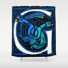 Celtic Peacocks Letter G Shower Curtain