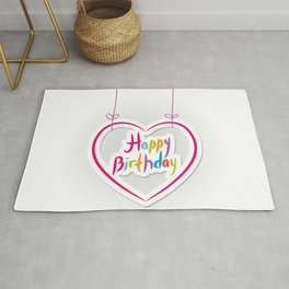 Happy birthday. pink heart on White background. Rug