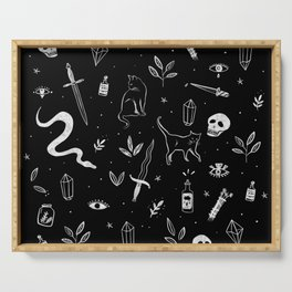 Witchy Mood - illustrated pattern Serving Tray