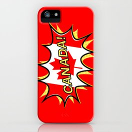 Canadian Flag Comic Style Starburst iPhone Case