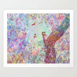 Curious Woodpecker and Friends Art Print