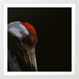 Sleeping Crane Art Print