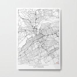 Ottawa Map White Metal Print