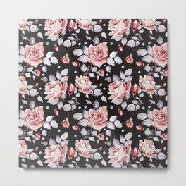Vintage Pink Rose Flowers Metal Print