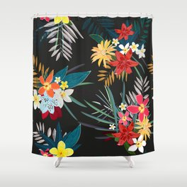 Frangipani, lily palm leaves tropical vibrant colored trendy summer pattern black background Shower Curtain
