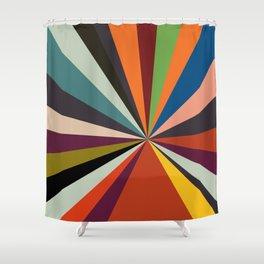 stripes rays geometric retro Shower Curtain