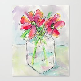 Poppies in Square Vase - Watercolor Canvas Print