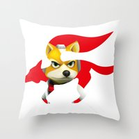 starfox Throw Pillows featuring Starfox by ElmWood Grove