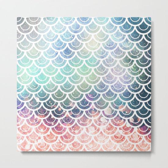Mermaid Scales Coral and Turquoise Metal Print