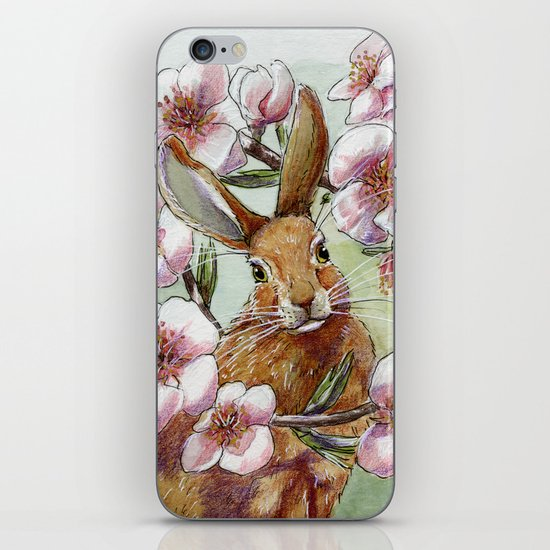 Amandine - Rabbit and flowers iPhone & iPod Skin