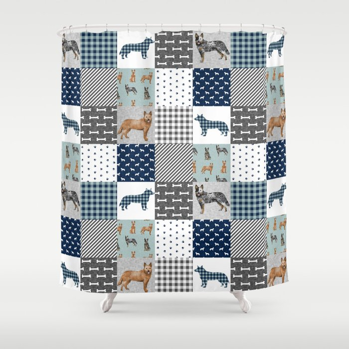 Australian Cattle Dog Cheater Quilt Pattern Lovers By Pet Friendly Shower Curtain