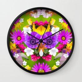 Flower mess - Pink Chaos Wall Clock