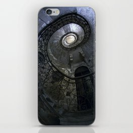 Spiral Staircase in blue and gray tones iPhone Skin
