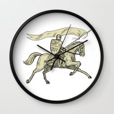 Knight Riding Horse Shield Lance Flag Drawing Wall Clock