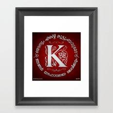 Joshua 24:15 - (Silver on Red) Monogram K Framed Art Print