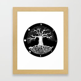 black and white tree of life with moon phases and celtic trinity knot Framed Art Print
