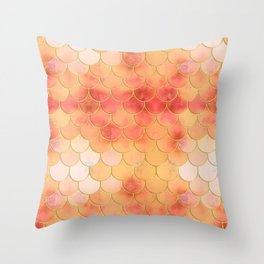 Apricot & Gold Mermaid Scale Pattern Throw Pillow