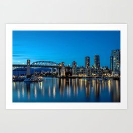 Downtown of Vancouver City at Night  Art Print