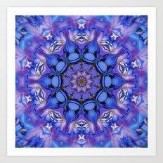 Summer sky Delphinium mandala Art Print