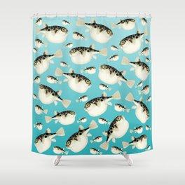 Puffer Fish watercolor Pattern Teal Shower Curtain