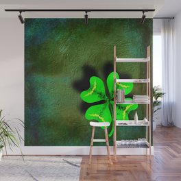 Four Leaf Clover on Green Textured Background Wall Mural