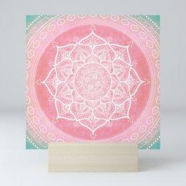 Bohemian Blush Pink & Teal Mandala Mini Art Print