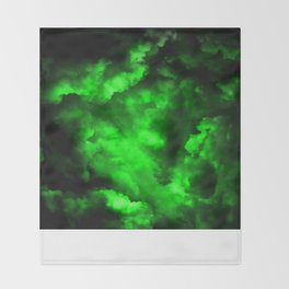 Envy - Abstract In Black And Neon Green Throw Blanket