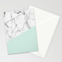 Real White marble Half pastel Mint Green Stationery Cards