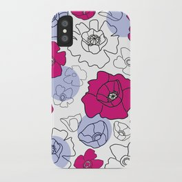 Poppies Pink & Blue iPhone Case