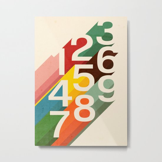 Retro Numbers Metal Print