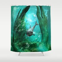 swimming Shower Curtains featuring Swimming dolphin by nicky2342