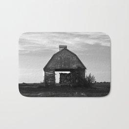 Country Corn Crib Black and White Farm Photography Bath Mat