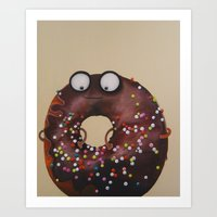 doughnut Art Prints featuring Doughnut by Neislotova