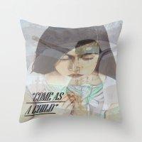 """religious Throw Pillows featuring """"COME AS A CHILD"""", religious art by Saribelle by Saribelle Inspirational Art"""