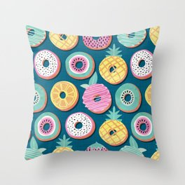 Undercover donuts // turquoise background pastel colors fruit donuts Throw Pillow