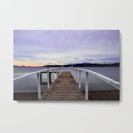 Pinky Sunset Dock Life Metal Print
