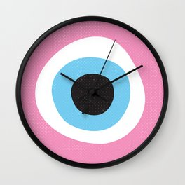 Pink Evil Eye Symbol Wall Clock