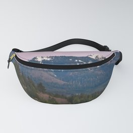 Snowy Saddle Mountain Snow Forest Pacific Northwest PNW Oregon Trees Landscape Purple Sunset Big SKy Fanny Pack
