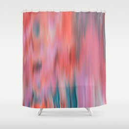 Modern abstract pink teal watercolor brushstrokes Shower Curtain